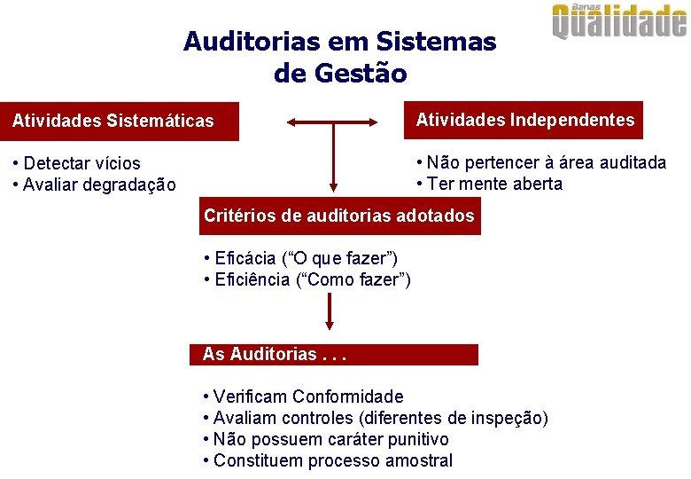 Auditorias em Sistemas de Gestão Atividades Sistemáticas Atividades Independentes • Detectar vícios • Avaliar