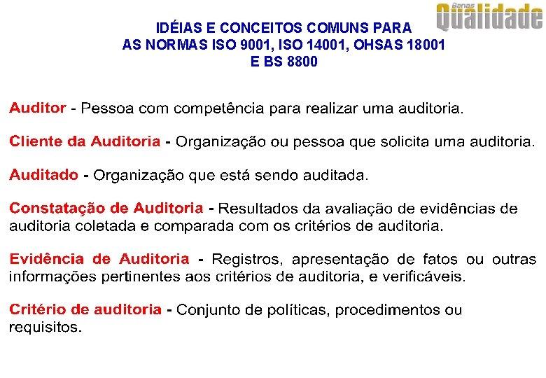 IDÉIAS E CONCEITOS COMUNS PARA AS NORMAS ISO 9001, ISO 14001, OHSAS 18001 E