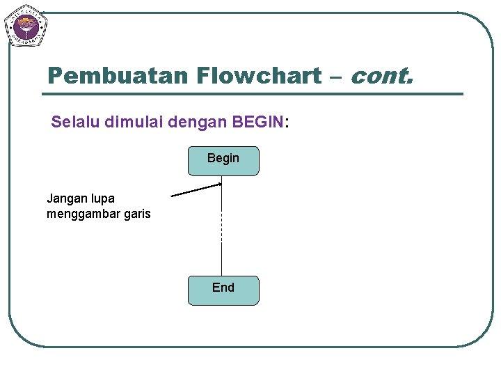 Pembuatan Flowchart – cont. Selalu dimulai dengan BEGIN: Begin Jangan lupa menggambar garis End