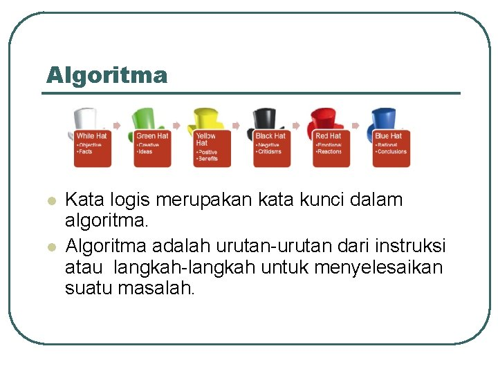 Algoritma l l Kata logis merupakan kata kunci dalam algoritma. Algoritma adalah urutan-urutan dari