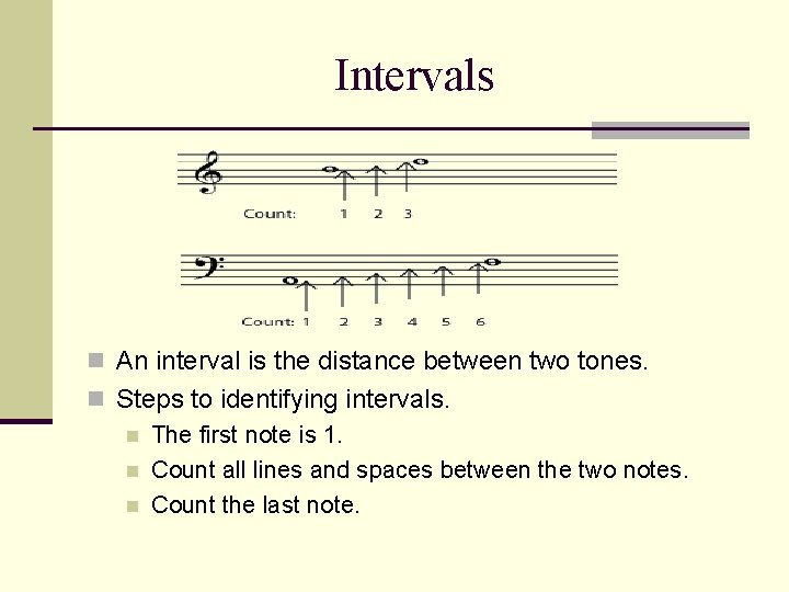 Intervals n An interval is the distance between two tones. n Steps to identifying