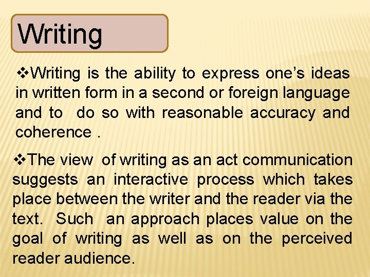 Writing v. Writing is the ability to express one's ideas in written form in