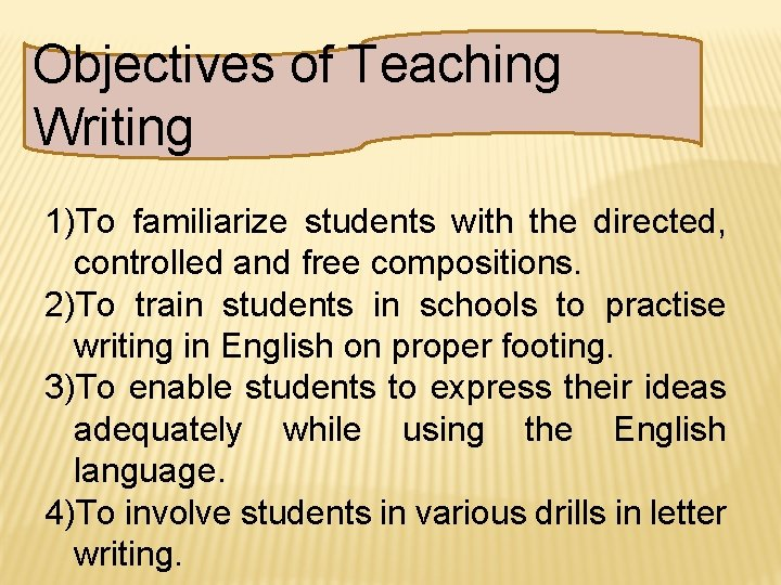 Objectives of Teaching Writing 1)To familiarize students with the directed, controlled and free compositions.