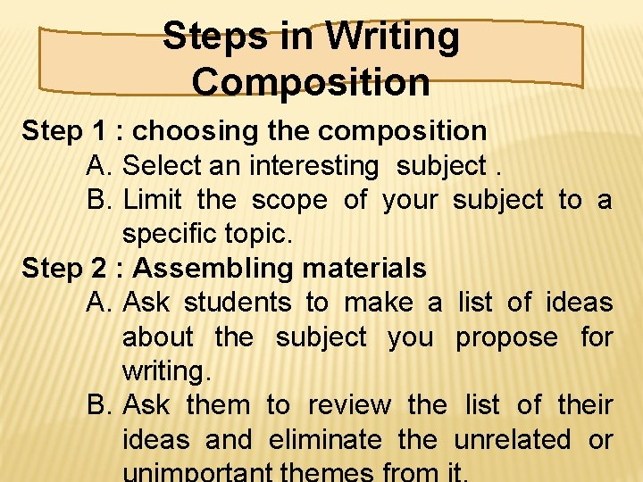 Steps in Writing Composition Step 1 : choosing the composition A. Select an interesting