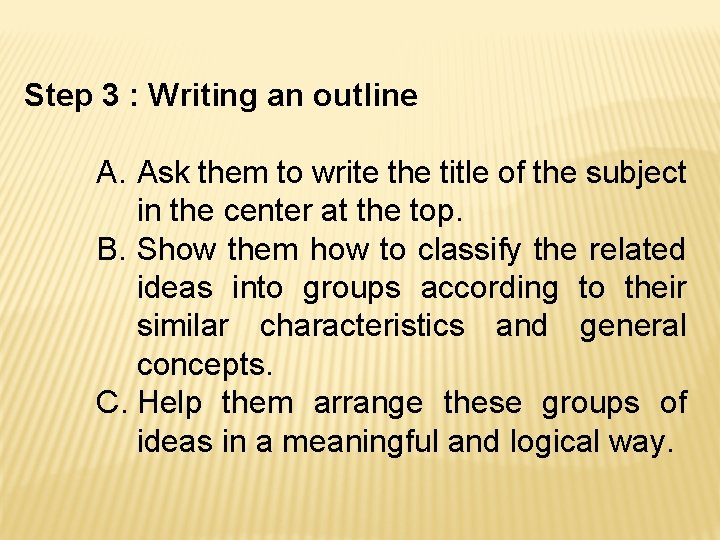 Step 3 : Writing an outline A. Ask them to write the title of