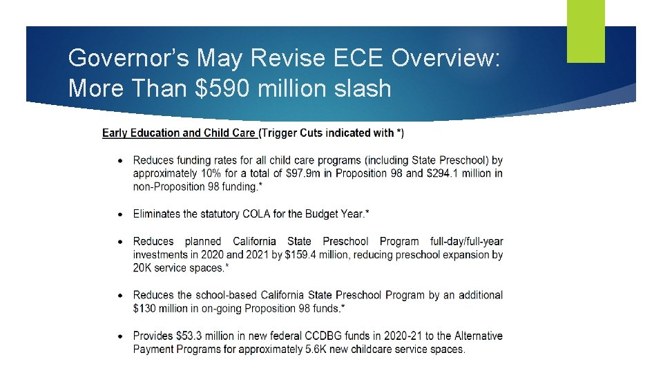Governor's May Revise ECE Overview: More Than $590 million slash