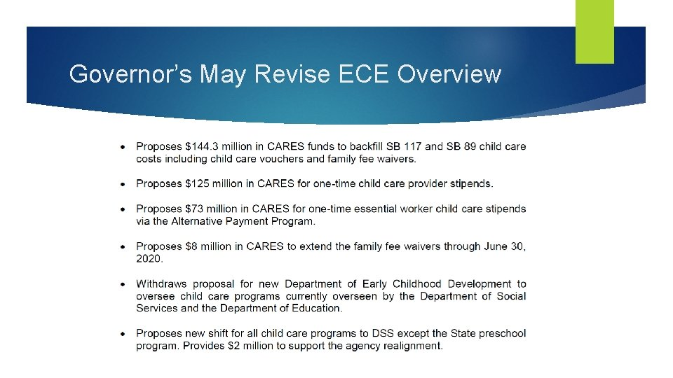 Governor's May Revise ECE Overview