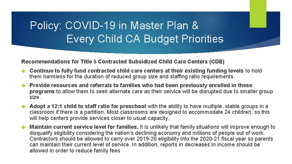 Policy: COVID-19 in Master Plan & Every Child CA Budget Priorities Recommendations for Title