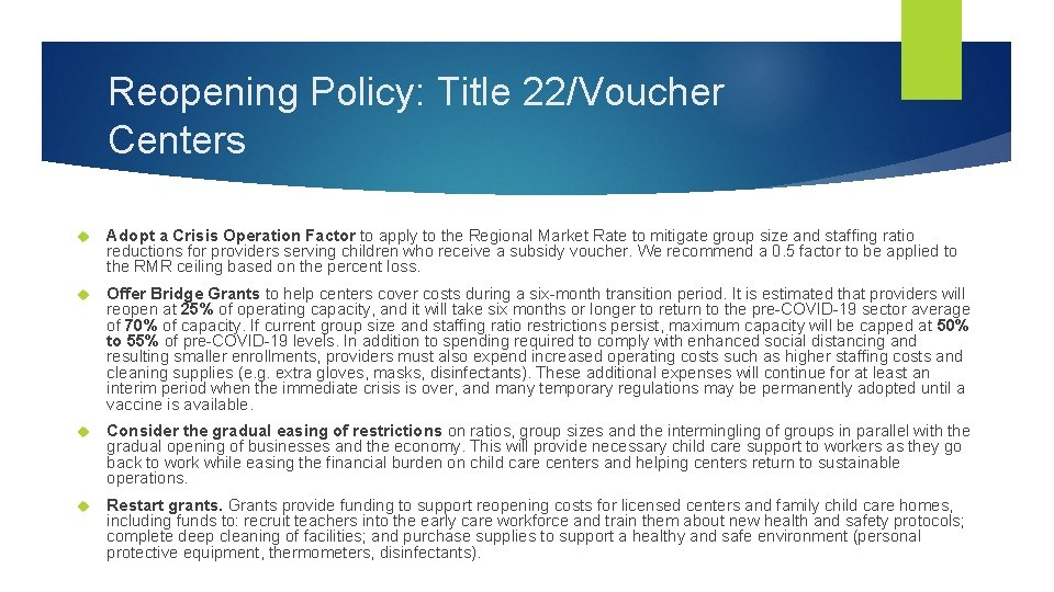 Reopening Policy: Title 22/Voucher Centers Adopt a Crisis Operation Factor to apply to the