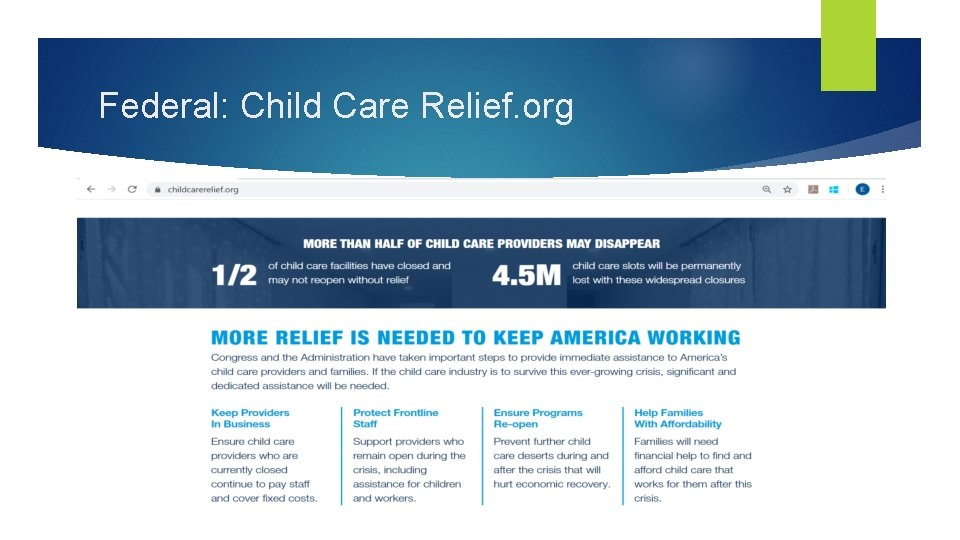 Federal: Child Care Relief. org