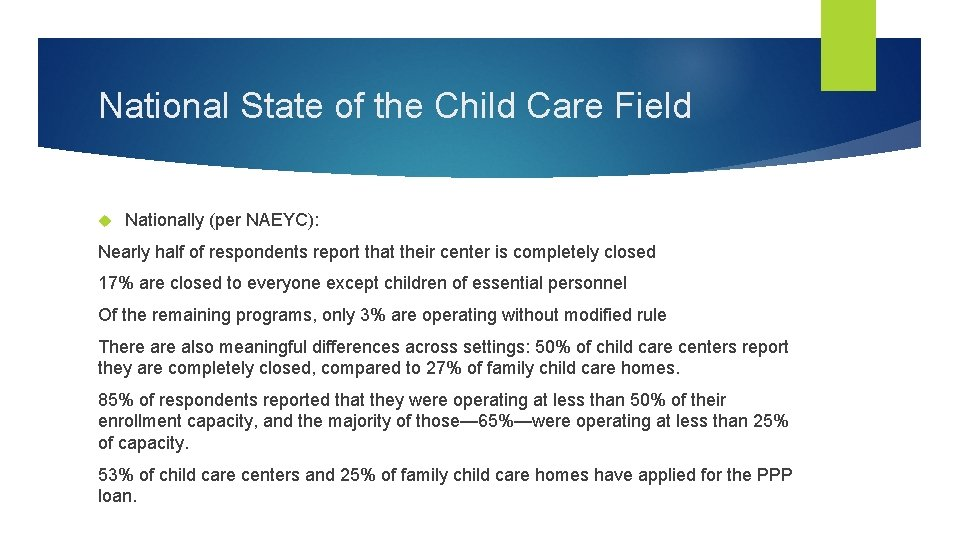 National State of the Child Care Field Nationally (per NAEYC): Nearly half of respondents