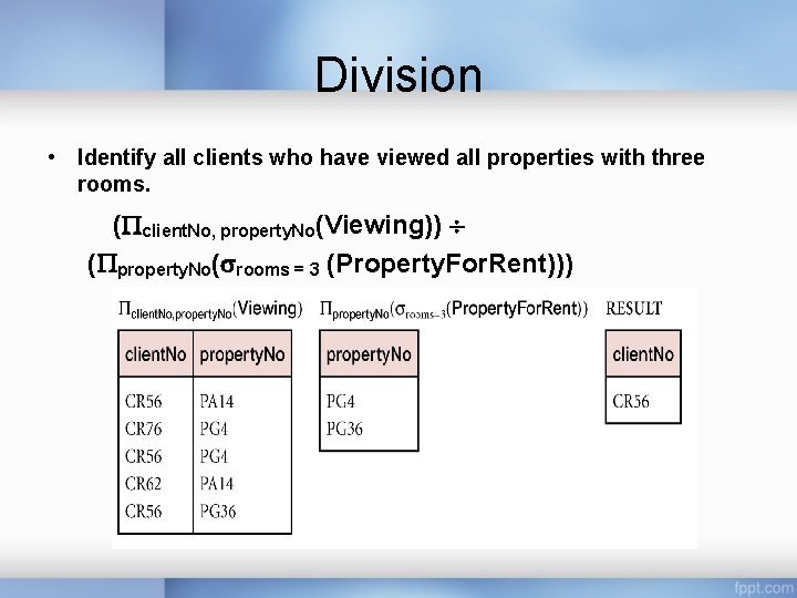 Division • Identify all clients who have viewed all properties with three rooms. (