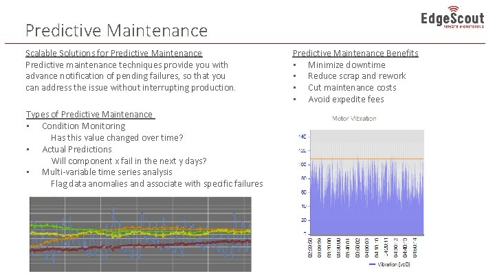 Predictive Maintenance Scalable Solutions for Predictive Maintenance Predictive maintenance techniques provide you with advance