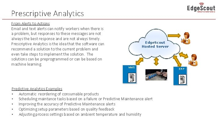 Prescriptive Analytics From Alerts to Actions Email and text alerts can notify workers when