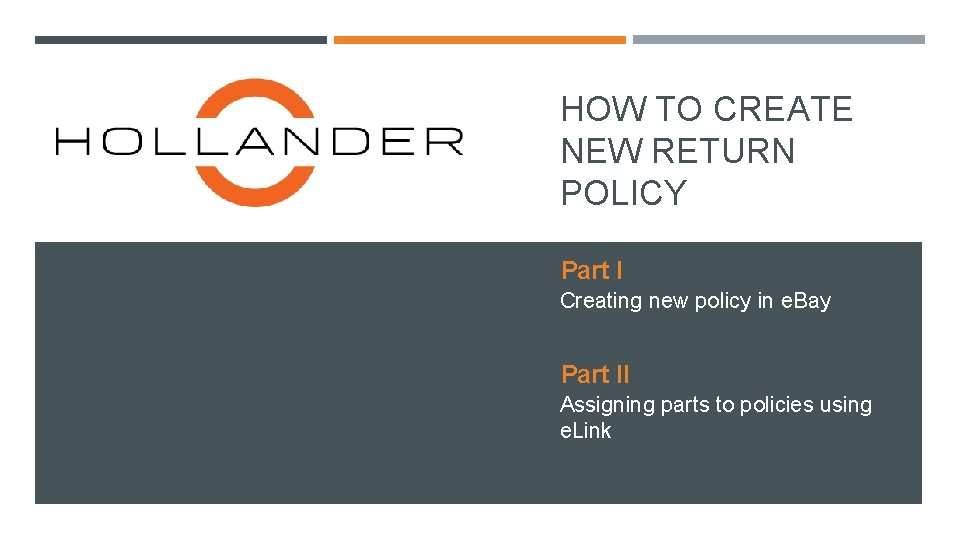 HOW TO CREATE NEW RETURN POLICY Part I Creating new policy in e. Bay