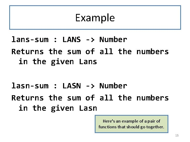 Example lans-sum : LANS -> Number Returns the sum of all the numbers in