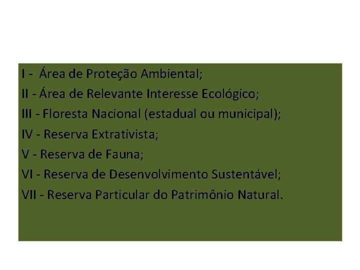 I - Área de Proteção Ambiental; II - Área de Relevante Interesse Ecológico; III