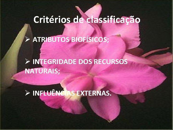 Critérios de classificação Ø ATRIBUTOS BIOFÍSICOS; Ø INTEGRIDADE DOS RECURSOS NATURAIS; Ø INFLUÊNCIAS EXTERNAS.