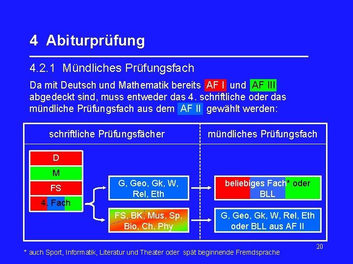 4 Abiturprüfung _________________ 4. 2. 1 Mündliches Prüfungsfach Da mit Deutsch und Mathematik bereits