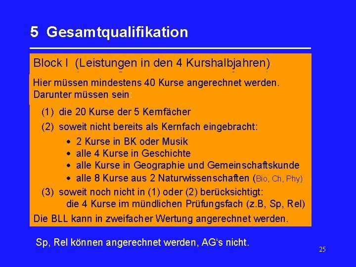 5 Gesamtqualifikation _________________ Block I (Leistungen in den 4 Kurshalbjahren) Hier müssen mindestens 40