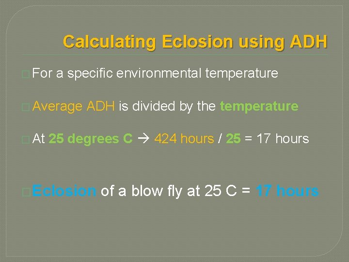 Calculating Eclosion using ADH � For a specific environmental temperature � Average ADH is