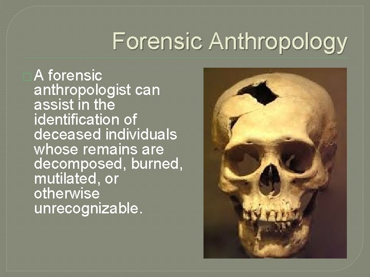 Forensic Anthropology � A forensic anthropologist can assist in the identification of deceased individuals