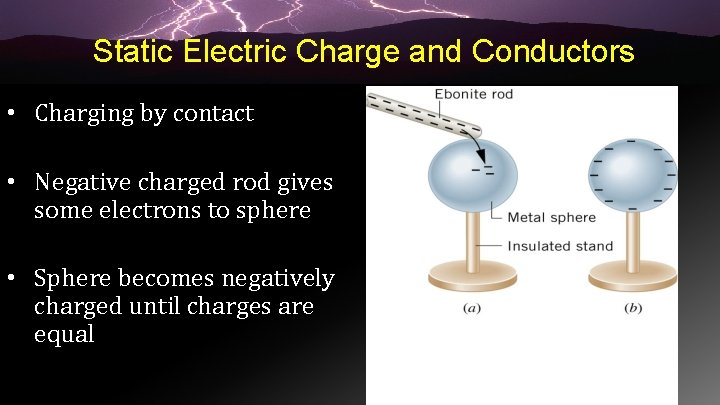 Static Electric Charge and Conductors • Charging by contact • Negative charged rod gives
