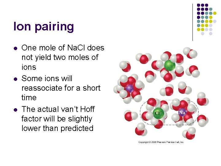 Ion pairing l l l One mole of Na. Cl does not yield two