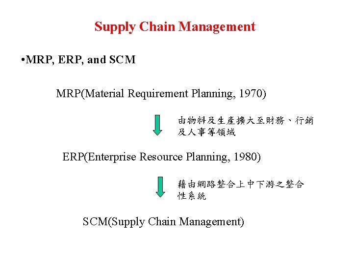 Supply Chain Management • MRP, ERP, and SCM MRP(Material Requirement Planning, 1970) 由物料及生產擴大至財務、行銷 及人事等領域