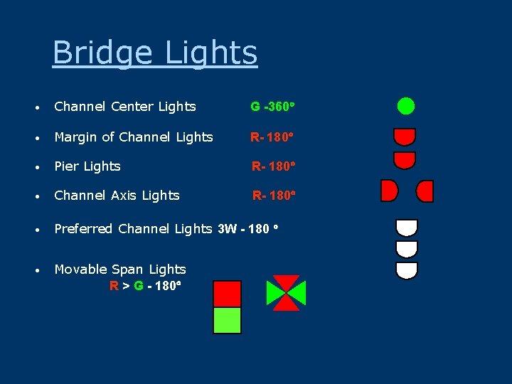Bridge Lights • Channel Center Lights G -360 • Margin of Channel Lights R-
