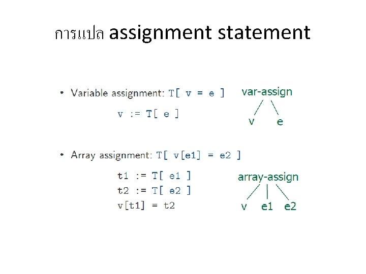การแปล assignment statement