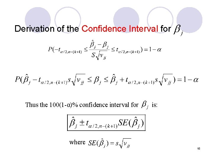 Derivation of the Confidence Interval for Thus the 100(1 -α)% confidence interval for is: