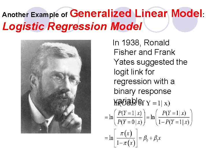 Another Example of Generalized Linear Model: Logistic Regression Model In 1938, Ronald Fisher and
