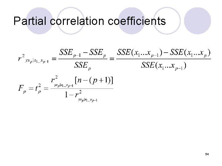 Partial correlation coefficients 54