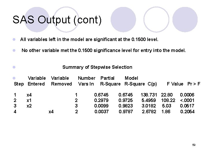 SAS Output (cont) l All variables left in the model are significant at the