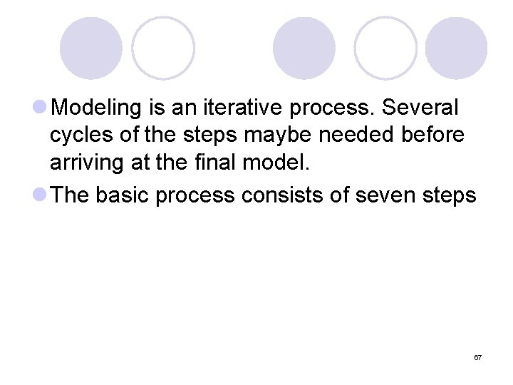 l Modeling is an iterative process. Several cycles of the steps maybe needed before