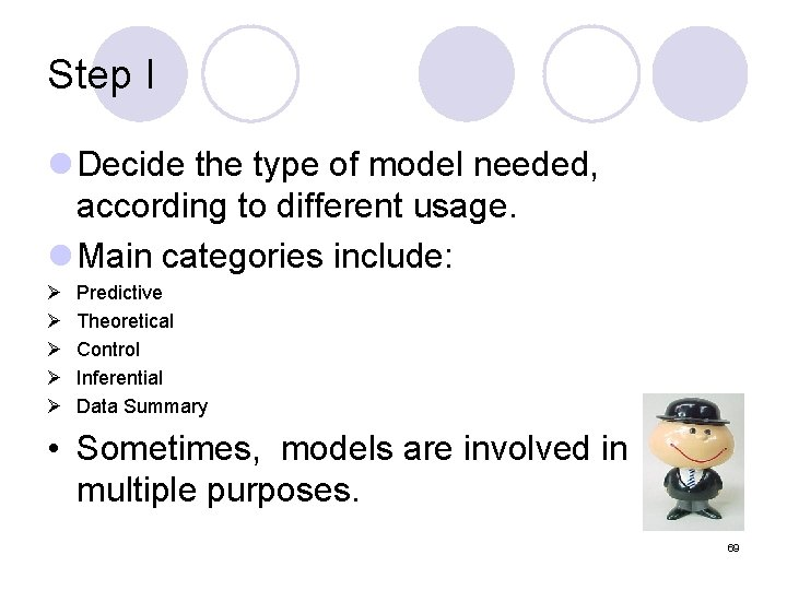 Step I l Decide the type of model needed, according to different usage. l