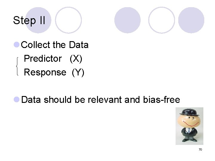 Step II l Collect the Data Predictor (X) Response (Y) l Data should be