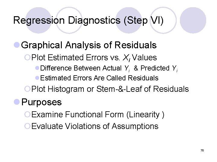 Regression Diagnostics (Step VI) l Graphical Analysis of Residuals ¡Plot Estimated Errors vs. Xi