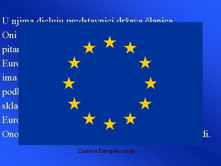 U njima djeluju predstavnici država članica. Oni odlučuju o političkim, gospodarskim i drugim pitanjima