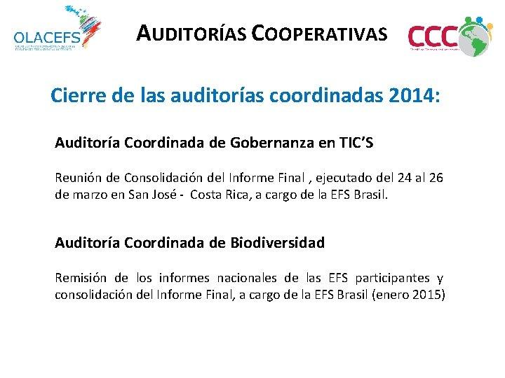 AUDITORÍAS COOPERATIVAS Cierre de las auditorías coordinadas 2014: Auditoría Coordinada de Gobernanza en TIC'S