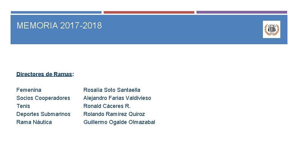 MEMORIA 2017 -2018 Directores de Ramas: Femenina Socios Cooperadores Tenis Deportes Submarinos Rama Náutica