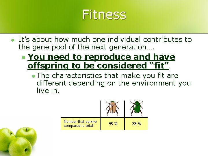 Fitness l It's about how much one individual contributes to the gene pool of