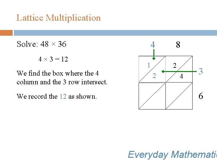 Lattice Multiplication Solve: 48 × 36 4 × 3 = 12 We find the