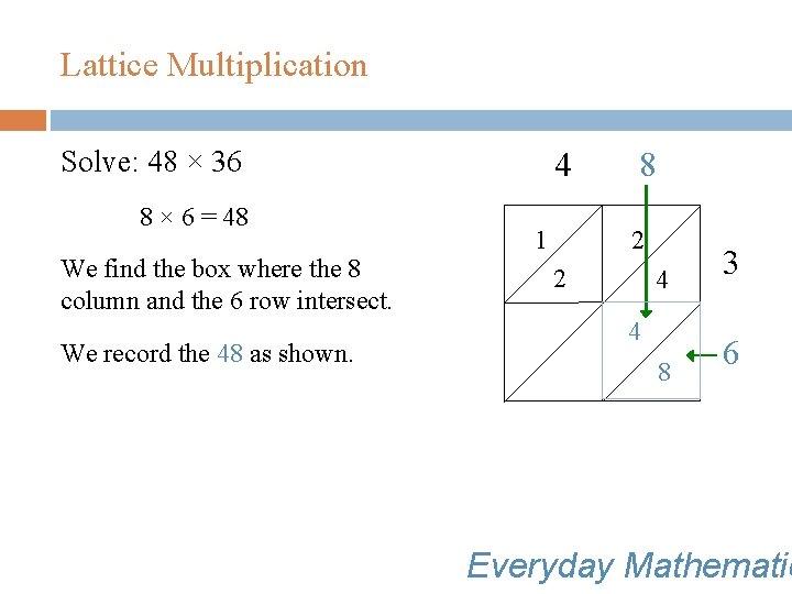 Lattice Multiplication Solve: 48 × 36 8 × 6 = 48 We find the