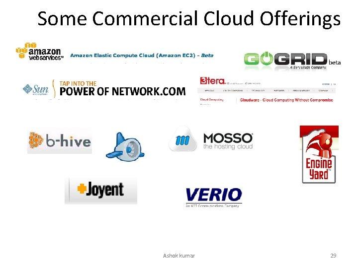 Some Commercial Cloud Offerings Ashok kumar 29