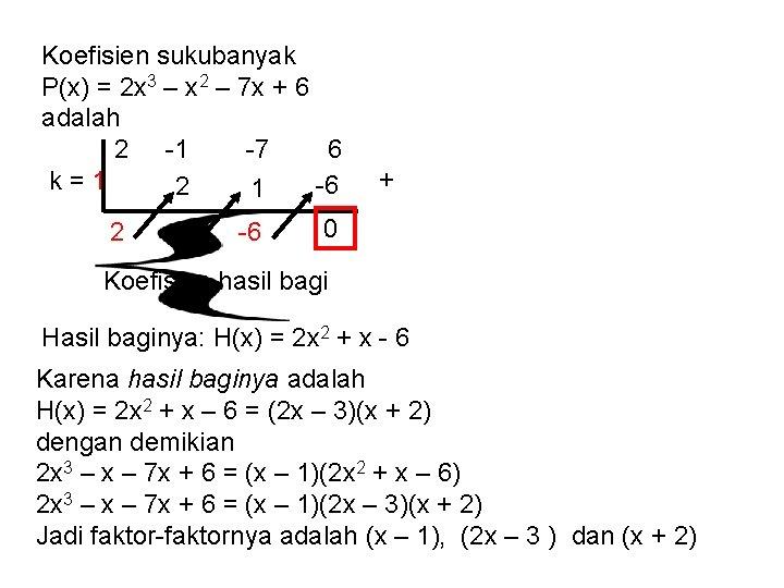 Koefisien sukubanyak P(x) = 2 x 3 – x 2 – 7 x +