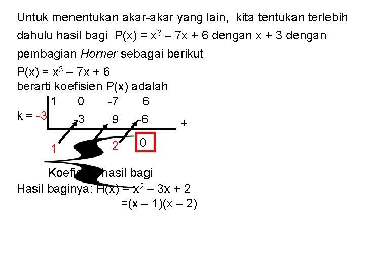 Untuk menentukan akar-akar yang lain, kita tentukan terlebih dahulu hasil bagi P(x) = x