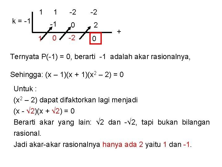1 k = -1 1 1 -2 -2 -1 0 2 0 -2 0