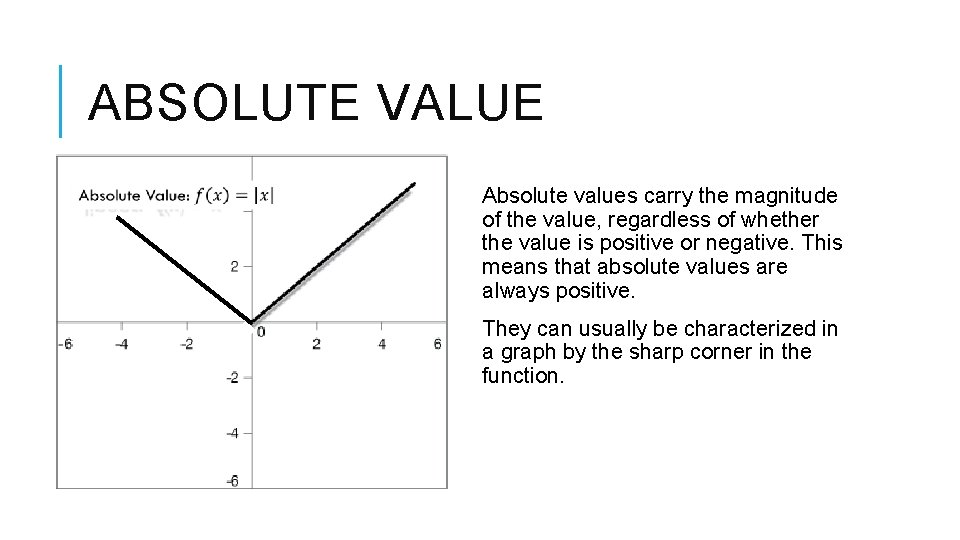 ABSOLUTE VALUE Absolute values carry the magnitude of the value, regardless of whether the